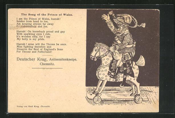 AK Chemnitz, Antisemitenkneipe Gasthof Deutscher Krug, The Song of the Prince of Wales 0