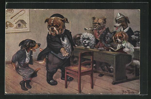 Künstler-AK Arthur Thiele: Schwer von Begriffen, Hundeschule mit Dackel 0