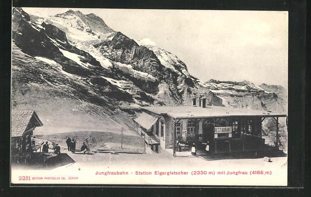 AK Jungfraubahn Station Eigergletscher mit Jungfrau 0