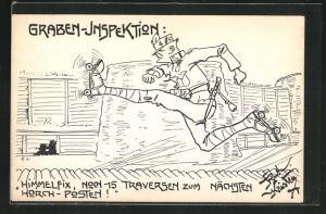Künstler-AK Rud. Kristen: Graben-Inspektion, Soldat auf Rollschuhen