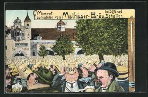 Lithographie Momentaufnahme vom Malthäser-Bräu bei 30 Grad im Schatten