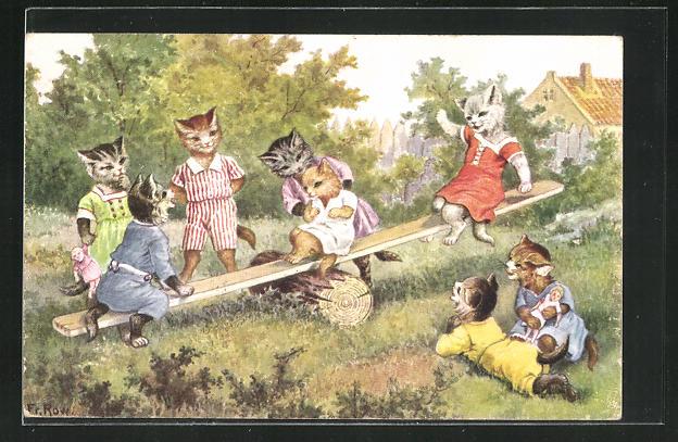 Künstler-AK Katzenkinder auf der Wippe 0