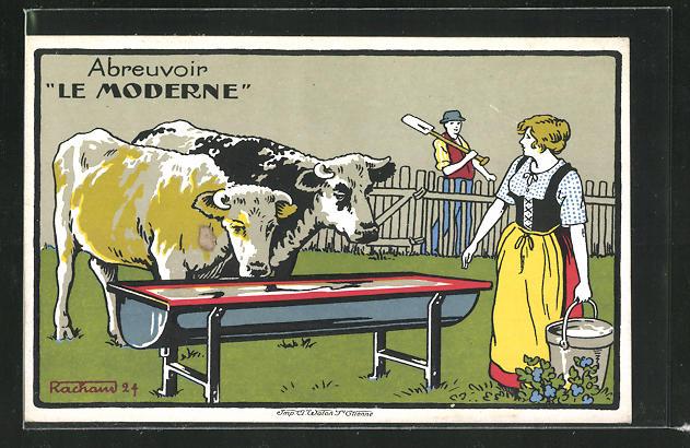 Künstler-AK Abreuvoir Le Moderne, Kühe an der Tränke, Reklame 0