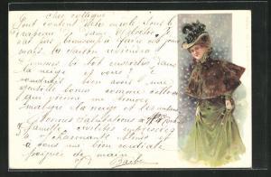 Lithographie Dame im Winterkleid mit Hut, Jugendstil