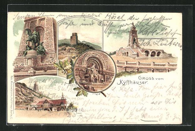 Lithographie Kyffhäuser mit Barbarossa & Reiterstandbild 0