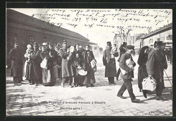 AK Geneve, Passage d`evacues francais , Flüchtlinge 0