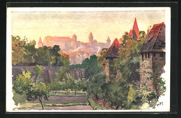 Künstler-AK Heinrich Kley: Nürnberg, Blick vom Spittlertorgraben 0
