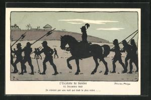 Künstler-AK sign. Felicien Philipp: L`Escalade de Geneve 1602, Ils vinrent par une nuit...