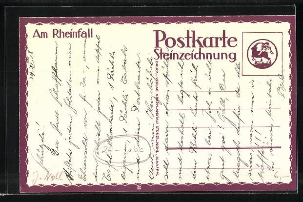 Künstler-AK sign. J. Nohl: Blick zum Rheinfall 1