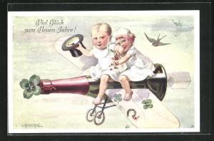 Künstler-AK E. Reckziegel: Kinder fliegen auf der Sektflasche