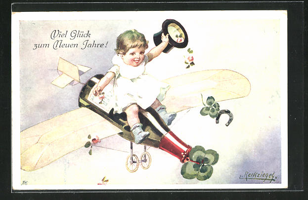 Künstler-AK E. Reckziegel: Kind fliegt auf der Sektflasche ins neue Jahr 0
