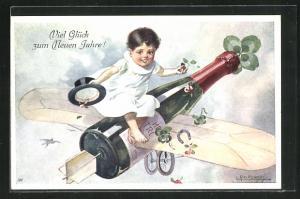 Künstler-AK E. Reckziegel: Kind auf der fliegenden Sektflasche