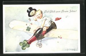 Künstler-AK E. Reckziegel: Knabe mit Zylinder auf der fliegenden Sektflasche