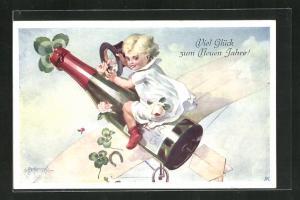 Künstler-AK E. Reckziegel: Kind mit Rosen und Klee auf der fliegenden Sektflasche