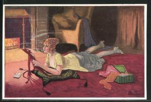Künstler-AK Plantikow: junge Dame liegend mit Zigarette auf einem Kissen mit Teufel