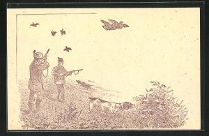Künstler-AK Jäger mit Hunden bei der Vogeljagd