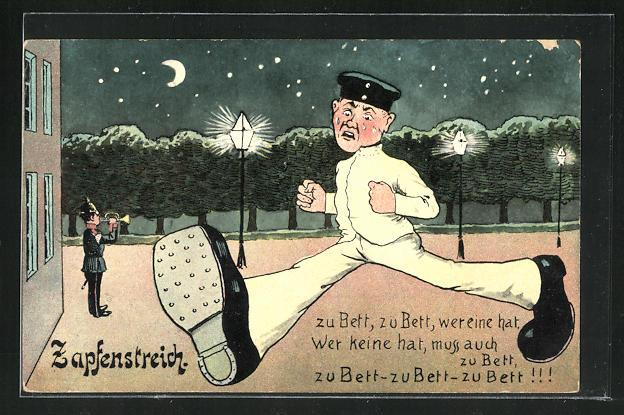 Künstler-AK Zapfenstreich, Soldat rennt mit grossen Schritten zu Bett 0
