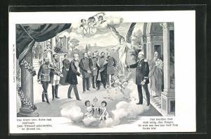 Künstler-AK Fürst Bismarck wird vom Kaiser empfangen