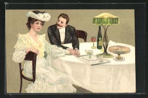 Präge-AK Liebespaar bei Tisch, Jugendstil