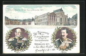 Lithographie Schloss Versailles, 30 jährige Wiederkehr der Kaiserproklamation 1871, Kaiser Wilhelm I. & II., Ganzsache