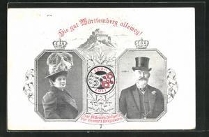 AK Erinnerung an die Silberhochzeit des Württ. Königspaares 1911, Ganzsache