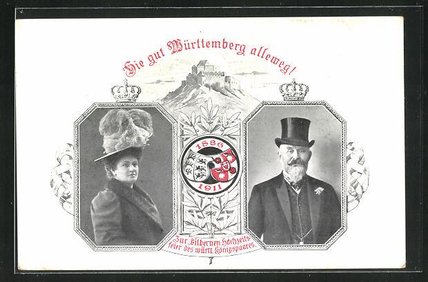 AK Erinnerung an die Silberhochzeit des Württ. Königspaares 1911, Ganzsache 0