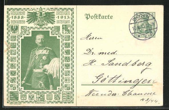 AK Kaiser Wilhelm II. 1888-1913, Ganzsache 0