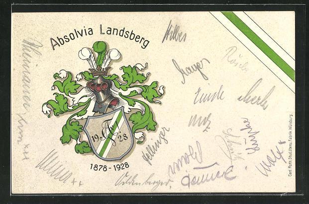 Lithographie Landsberg, Studentenwappen Absolvia Landsberg 1928 0