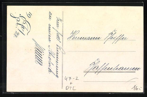 Lithographie Landsberg, Studentenwappen Absolvia Landsberg 1928 1