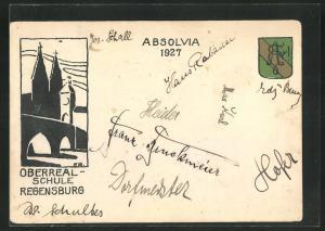 AK Regensburg, Absolvia Oberrealschule 1927, Kirche und Wappen