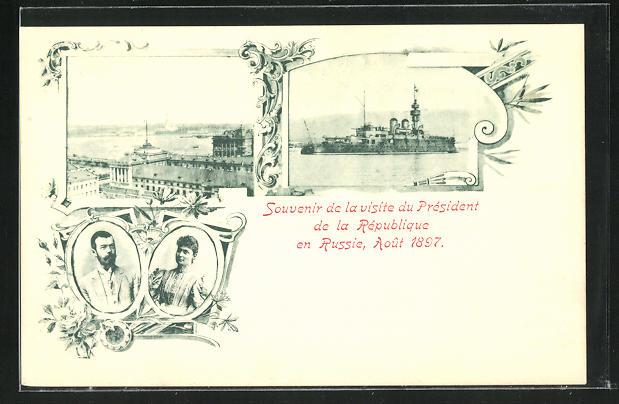 AK Nikolaus II. von Russland mit Gattin, Panzerkreuzer 0