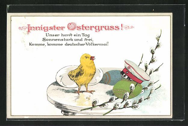 AK Ostergruss, Küken neben Uniformmütze, Osterei und Weidenkätzenzweig 0