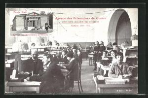 AK Agence des Prisonniers de Guerre, Une des Salle du Fichier, Geneve 1914-1915, Musee Rath