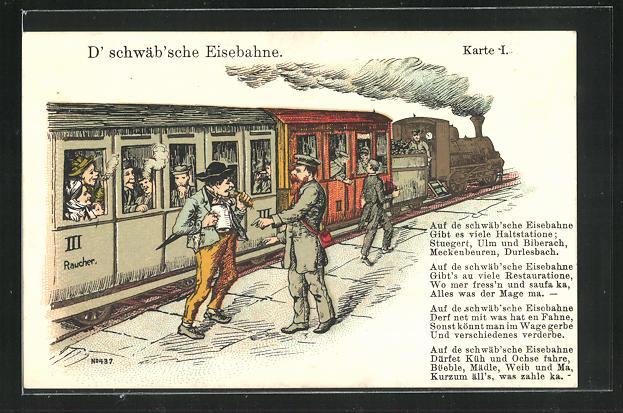 AK D` schwäb`sche Eisenbahn, Passagier mit Bahnbeamten am Bahnsteig 0