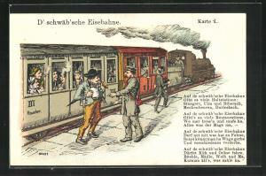 AK D` schwäb`sche Eisenbahn, Passagier mit Bahnbeamten am Bahnsteig