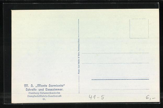AK Passagierschiff M.S. Monte Sarmiento, Schreib- und Lesezimmer 1