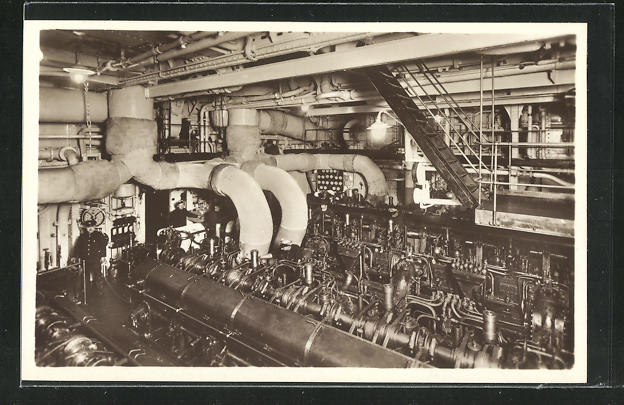 AK Passagierschiff M.S. Monte Sarmiento, Der Maschinenraum 0