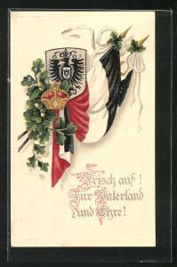 AK Frisch auf ! Für Vaterland & Ehre! Fahnen & Wappen