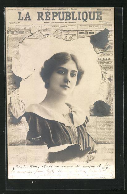 AK Zeitung La Republique, Portrait einer jungen Frau 0