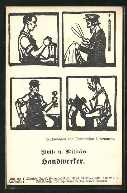 AK Zeitung Zivil- & Militär Handwerker 0