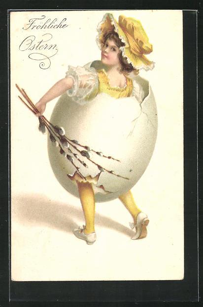 Präge-AK Fröhliche Ostern, Mädchen in einem Osterei 0