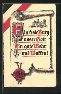 AK Spruch mit Siegel
