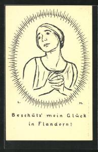 AK Beschütz mein Glück in Flandern! betende Frau