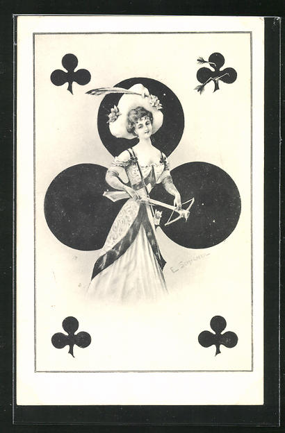 AK Kartenspiel, junge Dame mit Pfeil & Bogen, Kreuz 0