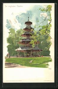 Künstler-AK Heinrich Kley: München, Pavillon im englischen Garten