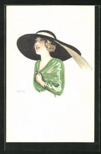 Künstler-AK sign. Rolf Niczky: Junge Frau mit grossen Hut in grüner Bluse gekleidet