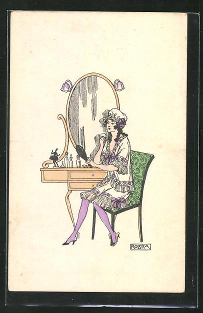 Künstler-AK sign. Robra: Junge Frau im Nachthemd bei der Morgentoilette vor dem Spiegel sitzend 0