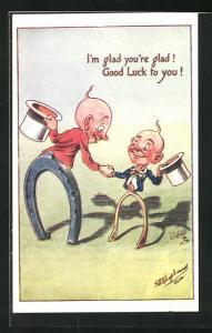 Künstler-AK George Edward Shepheard: Good Luck, Herren mit Zylinder und Hufeisen als Unterkörper