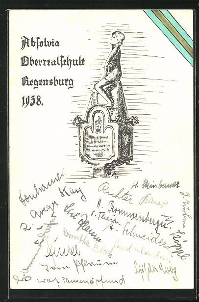 AK Regensburg, Absolvia Oberrealschule 1938, Absolvent auf einnem Dach sitzend 0