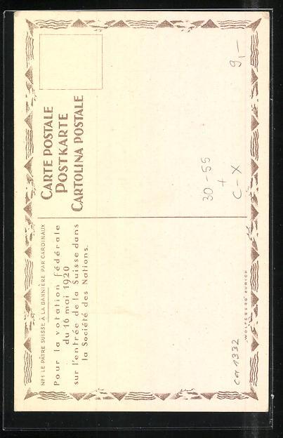 AK Ja zum Völkerbund, Mann mit Schweizer Nationalflagge, Volkasbatimmung 1920, Beitritt zum Völkerbund 1